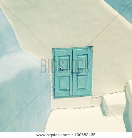 Detail Of The Typical Blue And White House In Oia, Santorini Island, Greece.