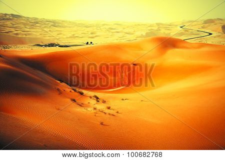 Winding black asphalt road through the sand dunes of Liwa oasis United Arab Emirates