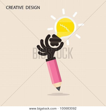 Creative Bulb Light Idea And Pencil Hand Icon,flat Design.concept Of Ideas Inspiration