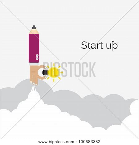 Creative Pencil Hand Sign And Light Bulb Icon On Grey Cloud Background, Conceptual Of Start Up New B