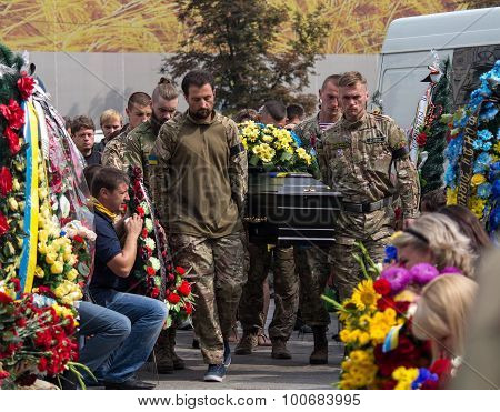 Kiev, Ukraine - September 04, 2015: Funeral Service For The Dead In The Front As A Volunteer At The