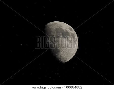 Gibbous Moon With Stars
