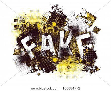 fake. art concept. vector background
