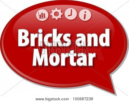 Speech bubble dialog illustration of business term saying Bricks and Mortar