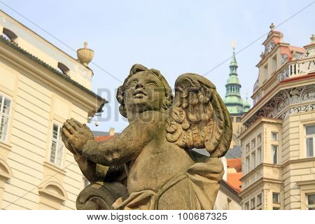 Statue On The Holy Trinity Column (plague Column) At Lesser Town Square. Prague, Czech Republic