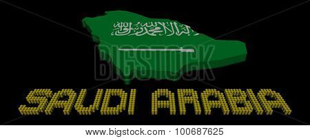Saudi Arabia barrel text with map flag illustration