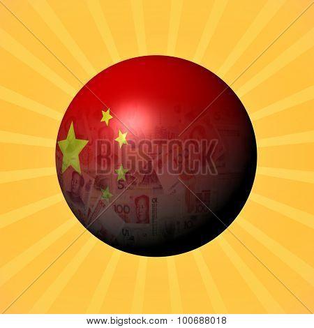 China flag yuan sphere on sunburst illustration