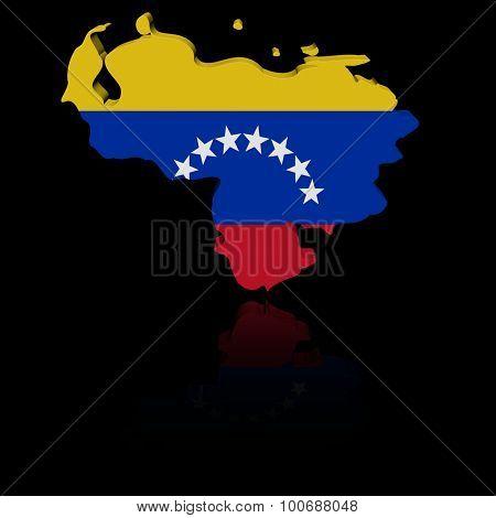 Venezuela map flag with reflection illustration