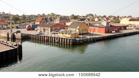 Small empty harbor on Aero island Denmark