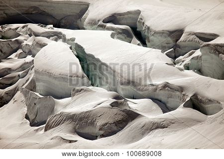 Snow and deep glacier crevasses on Jungfraujoch Switzerland