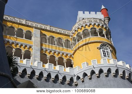 Architectural Close Up Of Sintra National Palace In Portugal