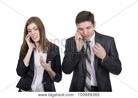 Telecommunications Business People Man and Woman