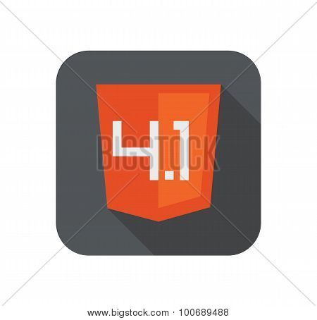 Vector illustration of orange shield with old html four point one sign, isolated web site developmen
