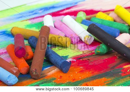 colorful oil pastels box