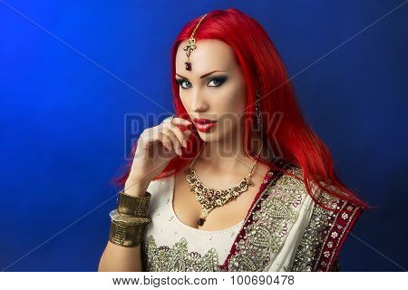 Beautiful Redhead Sexy Woman In Traditional Indian Sari Clothing