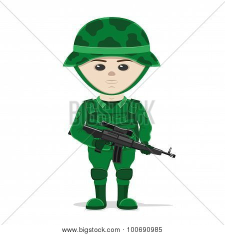 A soldier with a gun.