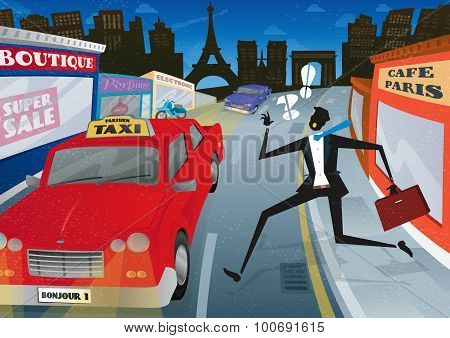 Man Running For A Taxi In City Of Paris