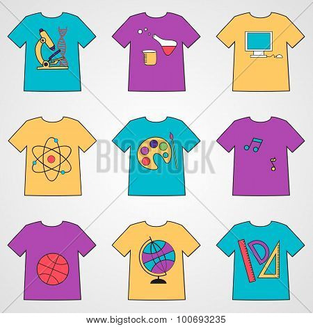 Set Of T-shirts With School Icons.