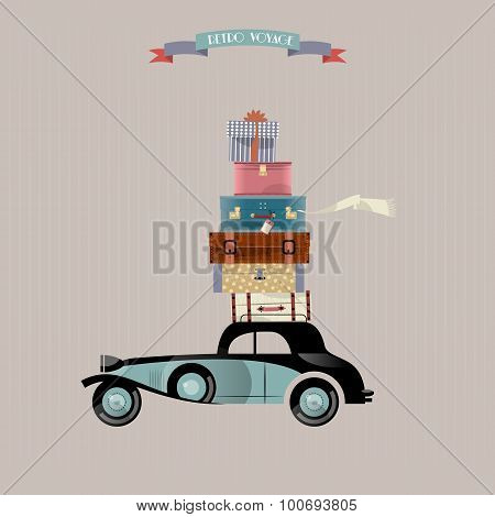Retro Voyage. Car And Stack Of Suitcases. Travel Concept.