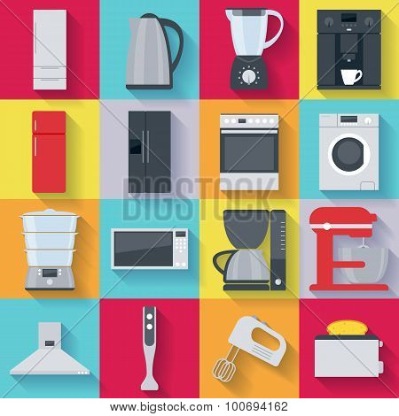 Kitchen home appliances icons set. Flat style.