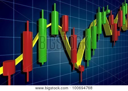 Stock Exchange Candlestick Chart Over Dark