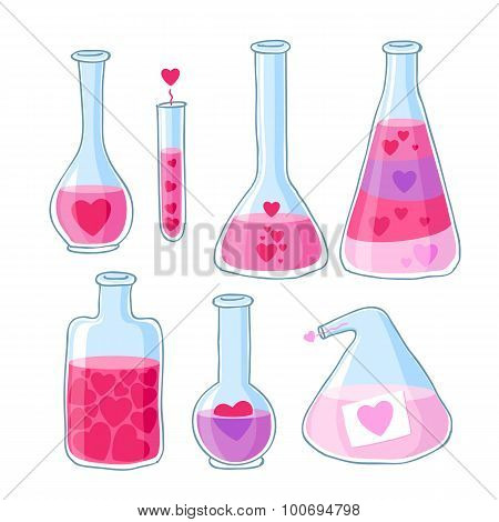 Love potion beautiful bottles with hearts  set.