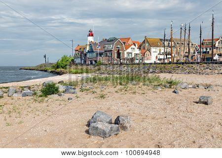 Village Scene Form Beach Of Urk, Old Dutch Fishing Village