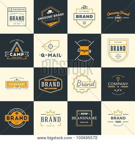Set Of Minimal And Clean Vintage Hipster Logotype Templates. Two Colors