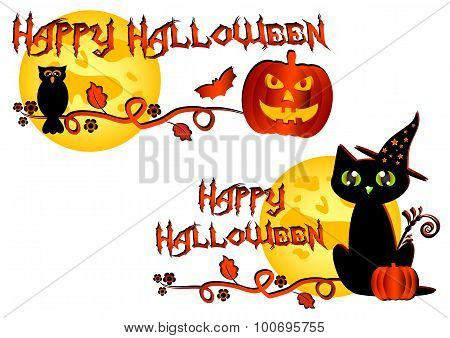 Colorful Logo For Cards And Greetings On Theme Of Halloween