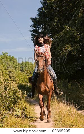 Cowgirl Riding A Bay Horse