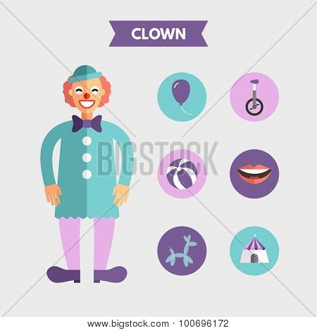 Flat Design Vector Illustration Of Clown With Icon Set. Infographic Design Elements