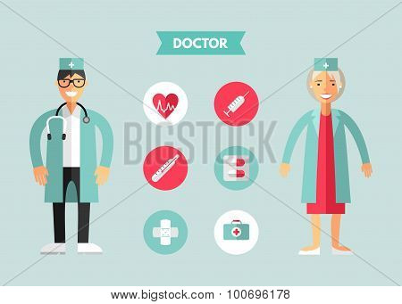 Flat Design Vector Illustration Of Doctor With Icon Set. Infographic Design Elements