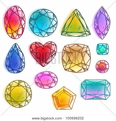Colorful hand drawn gemstones vector illustration.