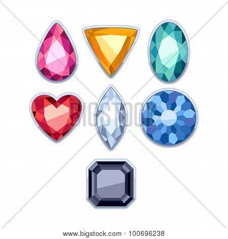 Colorful gemstones in silver rim vector illustration.
