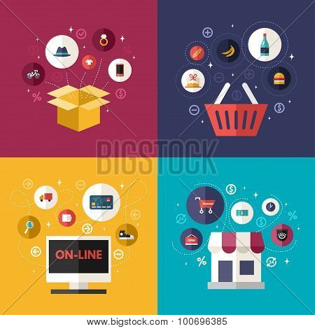 Set Of Flat Design Concept Illustrations Of E-commerce Symbols And Internet Shopping Elements. Deliv
