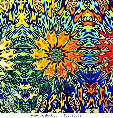 Colorful psychedelic flower illustration. Big chaos. Molten blots pic. Crazy dream shape. Color.