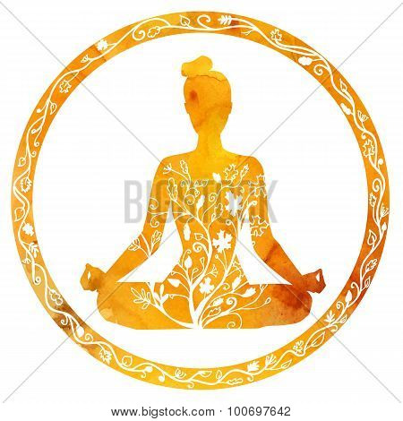Female Silhouette In Yoga Lotus Pose.