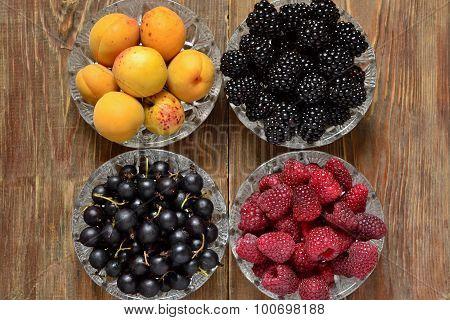 Apricots black currants, blackberries and raspberries