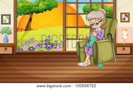 Old lady knitting on the armchair illustration