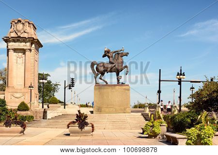CHICAGO, ILLINOIS - AUGUST 22, 2015: Equestrian Indian shooting arrow. Created by Ivan Metrovic the statues were created to  commemorate the tribes that once roamed Illinois.