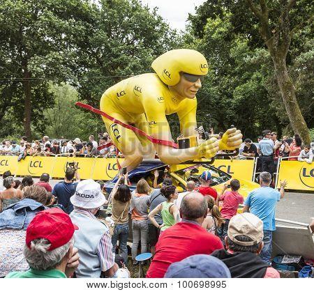 Lcl Yellow Cyclist Mascot - Tour De France 2015