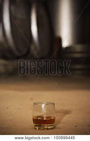 Glass Of Whiskey In Distillery