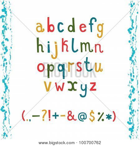lower case alphabet with Colorful hand drawn doodle alphabet wit