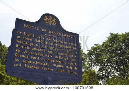 Battle of Brandywine Sign