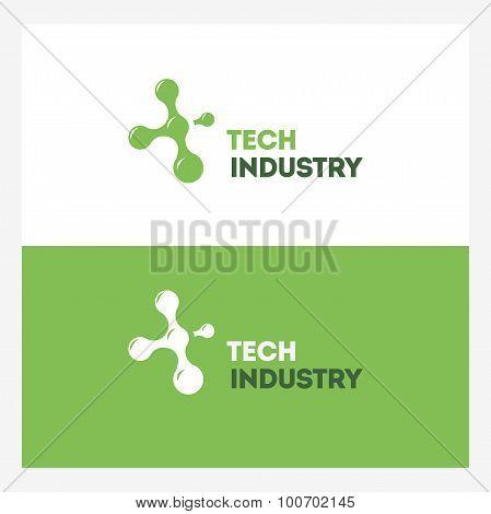 Abstract Technology Vector Logo Design Template. Molecule, Atom, Nanotechnology, Dna Theme. Creative
