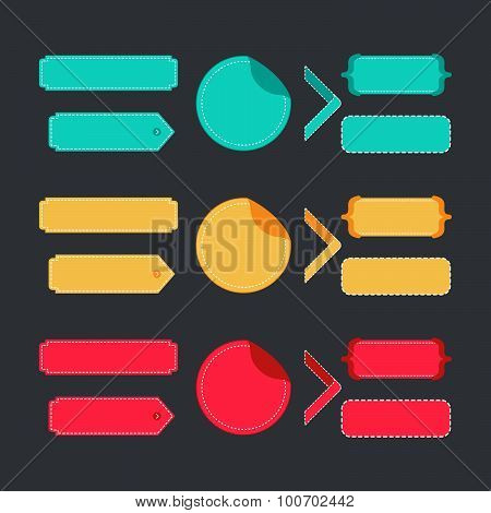 Bright colorful set of stitched labels.