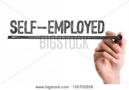 Hand with marker writing the word Self-Employed