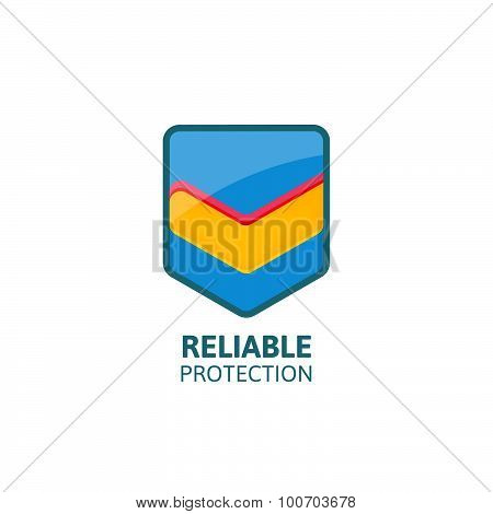 Reliable protection colorful shield with mark