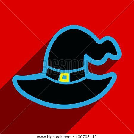 Flat with shadow icon and mobile application Witch's hat