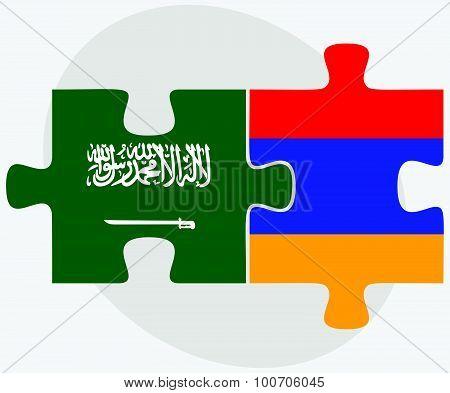 Saudi Arabia And Armenia Flags In Puzzle
